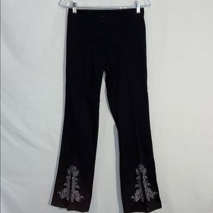 A.M.I. Split Front Flared Embroidered Pants - Sz 4